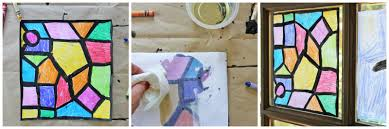 faux stained glass process collage babble dabble do