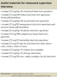 12 useful materials for restaurant supervisor - Restaurant Supervisor Job  Description