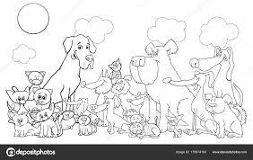 Cartoon Grappige Hond En Katten Kleurplaten Boek Stockvector