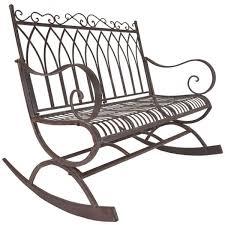 rustic metal rocking bench