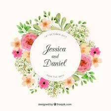 wedding designs. Floral wreath wedding design Vector Free Download