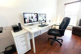 bedroominspiring ikea office chair. Excellent Computer Desk Setup With Drawer For Dual Newest Home Office Monitors Minimalist Ideas Bedroominspiring Ikea Chair