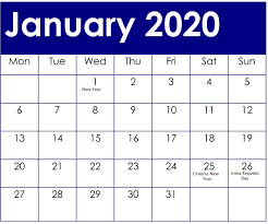 Chinese Calendar January 2020 January 2020 Calendar With American Holidays And Events