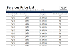 Pricing Templates For Services Services Price List Templates For Ms Excel Excel Templates