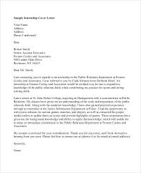 Cover Letter For Internship Example Letters How To Write A Cover