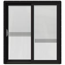 Wood sliding patio doors Exterior Jeldwen Blinds Between The Glass Cladwood Lefthand Sliding Double Door Sliding Patio Door With Screen common 72in 80in Actual 7125in 795in Lowes Jeldwen Blinds Between The Glass Cladwood Lefthand Sliding Double
