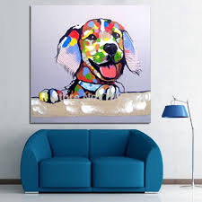 handmade animal painting hot colorful dog living room home decor canvas oil paintings top pic for house decoration