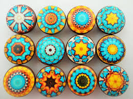 Diy Cabinet Knobs Set Of 12 Aqua Blue And Yellow Mandala Cabinet Knobs Blue And