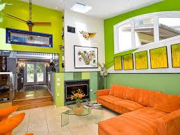 Bright Green Living Room with Orange Furniture