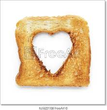 Free Art Print Of Toasted Slice Of White Bread With Hole Heart Shape