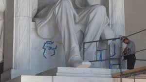 lincoln memorial vandalized. lincoln memorial cleaning completed after three weeks vandalized
