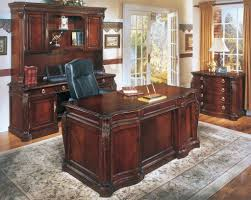 home office desk vintage. Vintage Wooden Formal Executive Home Office Furniture Ideas Featuring Black Leather Chair And Traditional Rug Desk N