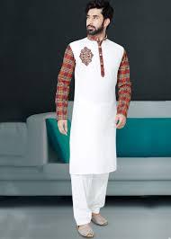 Half White Kurta Design Embroidered White Cotton Pathani Suit