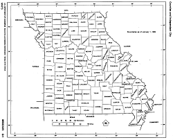 missouri state map with counties outline and location of each