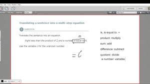 translating a sentence into a multi step equation