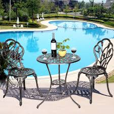 Costway Rakuten Cast Aluminum Patio Furniture Tulip Design Bistro