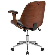 Wooden swivel desk chair Casters Flash Furniture Midback Black Leather Executive Wood Swivel Office Ch Modish Store Amazoncom Flash Furniture Midback Black Leather Executive Wood Swivel Office