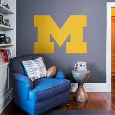 michigan wolverines block m logo giant officially licensed removable wall decal fathead