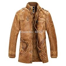 hottest m 4xl mens leather jackets men standing collar long section slim with velvet leather coat