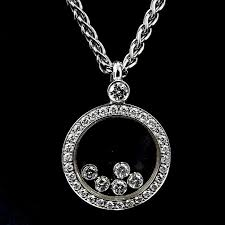 chopard diamond and 18 karat white gold happy diamond circle pendant necklace with five 5 floating diamonds by kodner galleries 886152 bidsquare