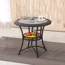 rattan and glass coffee table round glass coffee table small simple knit mini balcony outdoor
