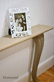 Narrow wall table made with found objects www.homeroad.net
