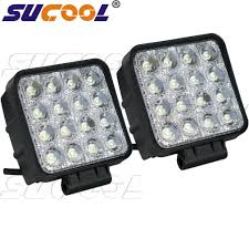 sucool 2pcs one pack 4 inch square 48w led work light off road flood lights truck lights 4x4 off road tractor jeep work lights fog lamp for jeep