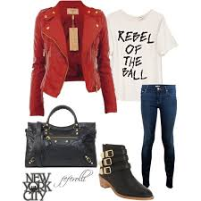 red leather jacket outfit idea for fall via