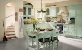 vintage style kitchen lighting. Decorations:Retro Style Kitchen Design With Corner Green Cabinet And Vintage Lighting Idea
