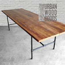 Distressed Wood Kitchen Table Wood Dining Table With Reclaimed Wood Top And Iron Pipe Legs In