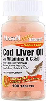 Mason Natural <b>Chewable Cod Liver Oil</b> with Vitamins A, C, D ...