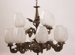 vintage brass chandelier with 12 glass shades 1