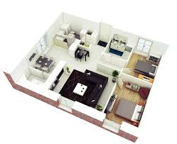 decor 3d open plan floor apartment and 2 bedroom house plans