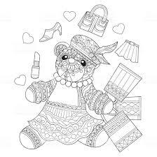 Hand Getekende Teddybeer Meisje Winkelen Voor Volwassen Kleurplaat