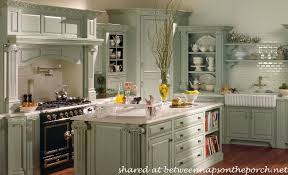 French Country Kitchen with Sea Green Cabinets