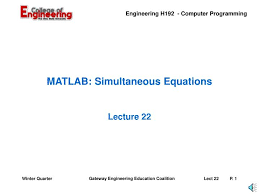 matlab simultaneous equations