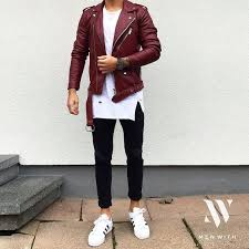 picture of black jeans a white tee a red leather jacket and white chucks
