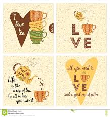 Set Of Inspirational Cards With Colorful Tea Or Coffee Cups Teapot