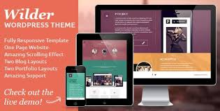 One Page Website Template Inspiration Wilder Flat One Page Responsive WordPress Theme Creative