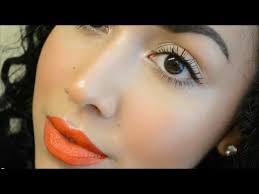 fresh summer makeup tutorial glowing skin simple eyes orange lips