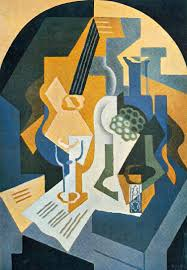 still life with fruit bowl and mandolin by juan gris