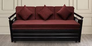 Statice Metal King Size Sofa Cum Bed With Hydraulic Storage In Matte Black By Furnline