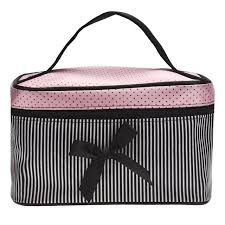 cosmetic bag make up bags travel makeup bag square bow striped beauty case best gift s zipper storage