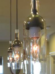 three pendant lights for kitchen made of wine bottle with single incandescent lamps with diy cloud bottle lighting