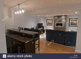 Living Room Bars Luxury Basement Living Room With Gas Fireplace And Bar Stock Photo