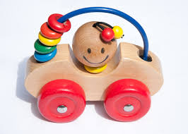 childrens wooden toy car single studio retro red hq photo