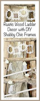 shabby chic decorated rustic wood ladder with diy wood cut out blank frames and glass bottles