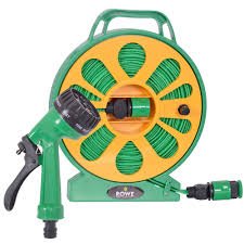 details about 50ft 15m flat garden hose pipe reel set with spray watering water nozzle