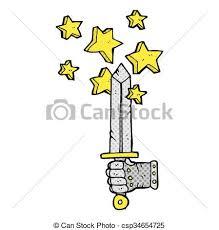 ic book style cartoon hand holding magic sword csp34654725