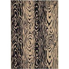 layered faux bois coffee black 4 ft x 6 ft area rug